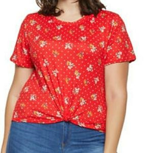 Tops - Plus size red tie in front shirt
